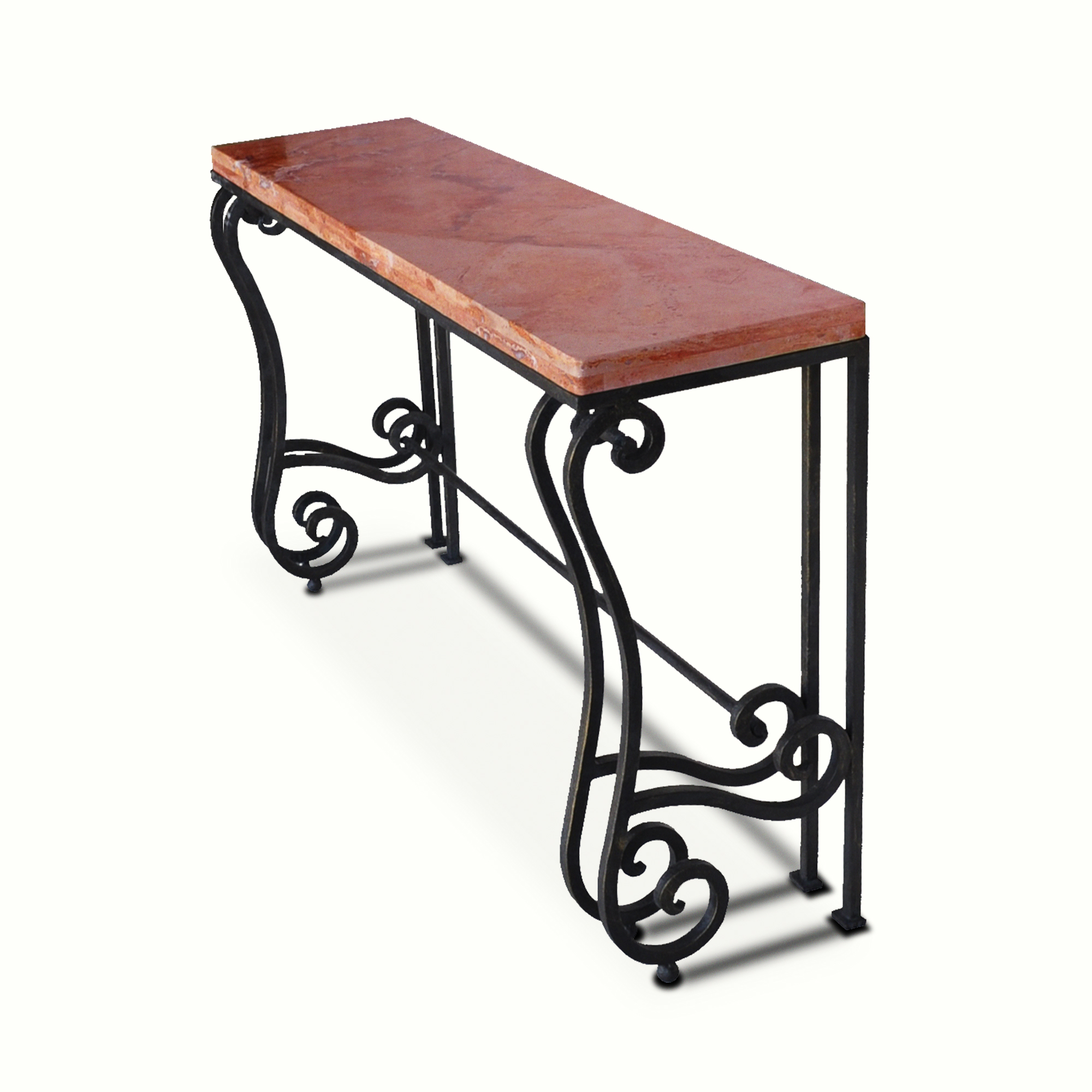 10301-irst-ta Transitional Console Stone Top Iron Console – ADG Lighting Collection